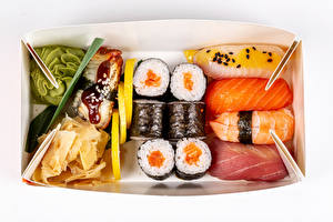 Pictures Seafoods Sushi Fish - Food Rice White background Box