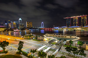 Pictures Singapore Houses Roads Night Bay Cities