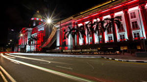 Wallpapers Singapore Houses Roads Rays of light Palm trees Night time Raffles Place Cities