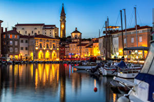 Photo Slovenia Houses Evening Boats Piran Cities