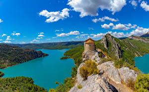 Bilder Spanien Burg Flusse Felsen Hügel Pertusa Natur