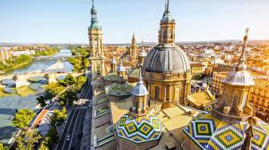 Fotos Spanien Kathedrale Gebäude Flusse Kuppel Von oben  Städte