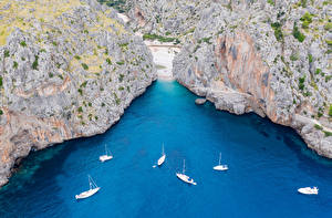 Pictures Spain Majorca Mallorca Sailing Yacht Crag Bay From above Cala Mesquida Nature