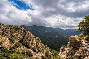 Wallpapers Spain Mountain Clouds Cliff Pyrenees, Catalonia Nature
