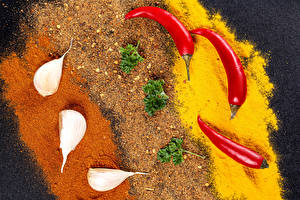 Bilder Gewürze Knoblauch Chili Pfeffer