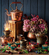 Pictures Still-life Hydrangea Kettle Kerosene lamp Little cakes Berry Chestnut Mug Food Flowers