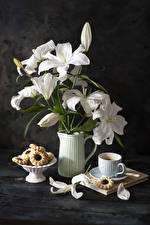Pictures Still-life Lilies Coffee Cookies Boards Vase White Petals Cup Flowers Food