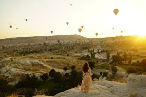 Image Sunrise and sunset Turkey Aerostat Hill Cappadocia Nature