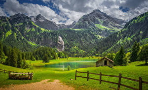 Photo Switzerland Bern Mountains Grasslands Lake Forests Alps Fence Lauenen Nature