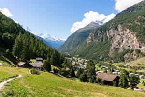 Обои Швейцария Дома Горы Леса Альпы Деревня Долина village Randa Природа Города картинки