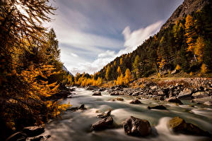 デスクトップの壁紙、、スイス、山、秋、川、石、アルプス山脈、木、Val Roseg、