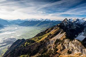 Image Switzerland Mountains Alps Valley Crag Hoher Kasten Nature