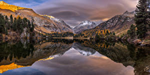 Wallpapers Switzerland Mountain Lake Autumn Trees Reflected  Nature