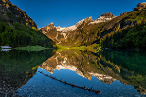 Pictures Switzerland Mountains Lake Alps Reflected Seealpsee