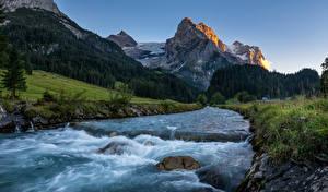 デスクトップの壁紙、、スイス、山、川、石、アルプス山脈、Rosenlaui、