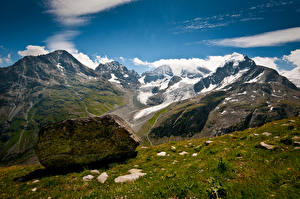 Wallpaper Switzerland Mountains Stones Alps Clouds  Nature