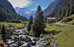 Hintergrundbilder Schweiz Gebirge Steine Alpen Bach