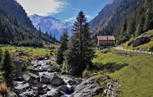 Wallpapers Switzerland Mountains Stones Alps Stream Nature