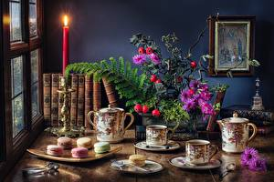 Images Tea Candles Cookies Bouquet Still-life Table Cup Book Macaron Food