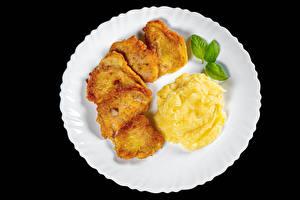 桌面壁纸,,第二個菜,土豆,肉類產品,黑色背景,碟,