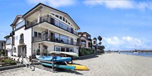 Bilder Vereinigte Staaten Küste Gebäude Boot Kalifornien Herrenhaus Strände Long Beach Städte