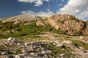 Pictures USA Mountains Stones Rock Medicine Bow-Routt National Forest