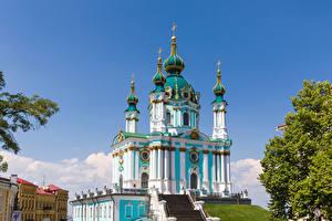 Hintergrundbilder Ukraine Kiew Kirchengebäude Kuppeln St. Andrew's Church Städte