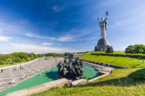 Pictures Ukraine Kiev Sculptures Sky Monuments Mother Homeland Cities