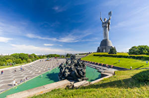 Pictures Ukraine Kiev Sculptures Sky Monuments Mother Homeland
