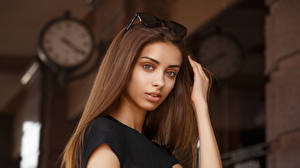 Picture Viacheslav Krivonos Model Face Staring Bokeh Brown haired Liza Girls