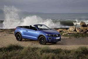 壁紙,大众汽车,敞篷车,蓝色,2019-20 T-Roc Cabriolet R-Line Worldwide,汽车,