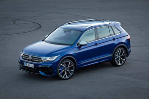 Bureaubladachtergronden Volkswagen Blauw kleur Metallic Tiguan R, 2020 auto's