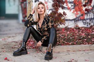 Images Blonde girl Sit Legs Boots Blouse Glance Alessandra female