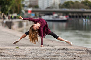 Pictures Dance Ballet Waterfront Blurred background Anastasia female