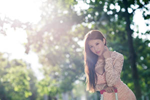 Image Asian Blurred background Brown haired Staring Hands female