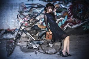Images Asian Blurred background Hat Bike Gown young woman