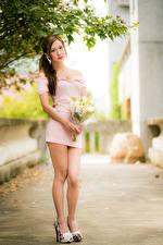 Images Asian Bouquet Posing Frock Legs Glance Bokeh female