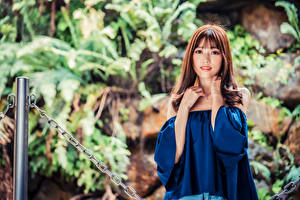 Pictures Asian Brown haired Staring Blurred background female