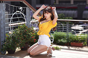 Pictures Asiatic Brown haired Sitting Shorts Blouse Hands Glance Girls