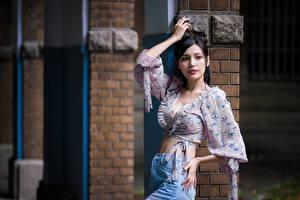 Tapety Azjaci Brunetka Bluzka Poza Spojrzenie Dziewczyny zdjęcia zdjęcie