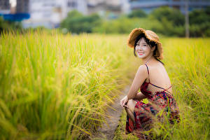 Wallpaper Asiatic Brunette girl Dress Hat Sit Bokeh Glance Grass Girls