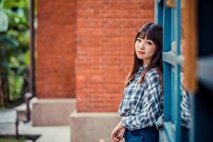 Fondos de escritorio Asiático Camisa Contacto visual Fondo borroso mujeres jóvenes