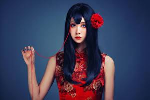 Bilder Asiatisches Haar Blick Make Up Brünette Mädchens