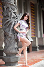 Wallpapers Asian Posing Dress Legs Girls