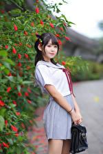 Hintergrundbilder Asiatisches Posiert Schülerin Uniform Blick