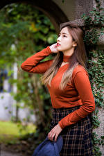 Wallpapers Asian Pose Sweater Brown haired young woman