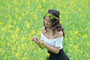 Wallpaper Asian Rapeseed Wreath Hands Brown haired Girls