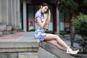 デスクトップの壁紙、、アジア人、座っ、ドレス、脚、少女、