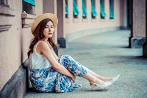 Wallpapers Asian Sit Skirt Hat Glance female