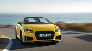 Pictures Audi Blurred background Front Driving Yellow Roadster TT, Roadster, S line, 2018 auto